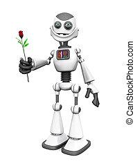 rose., robot, spotprent, vasthouden, het glimlachen, witte