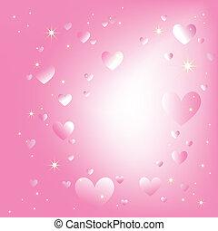 rose, romantique, fond couleur, étincelant, étoiles, cœurs