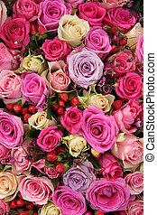 rose rose, nuances, arrangement, divers, nuptial