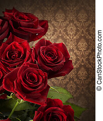 rose rosse, bouquet., vendemmia, disegnato