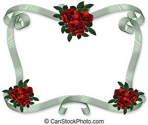 rose rosse, invito, sagoma
