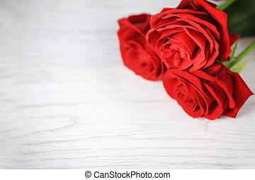 rose, rosso, giorno, fondo, valentine