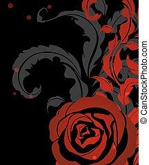 rose, roter hintergrund, weinlese