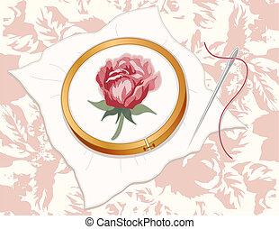 rose, rotes , stickerei, damast