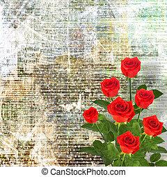 rose rouge, à, feuilles vertes, sur, les, or, résumé, fond