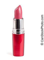 rose, rouge lèvres, isolé, closeup, fond, blanc