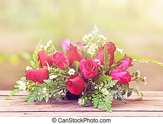 rose rouge, table, bois