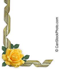 rose, ruban, frontière, jaune, or