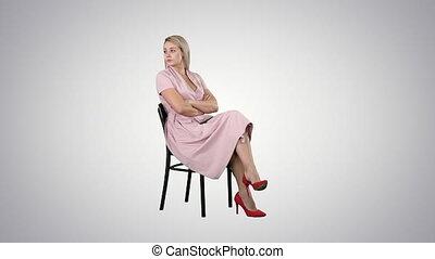 rose, séance femme, gradient, arrière-plan., attente, quelqu'un, chaise, robe
