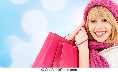 rose, sacs, achats femme, chapeau, écharpe