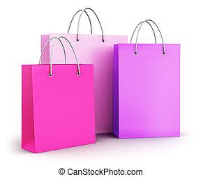 rose, sacs, papier, achats, groupe