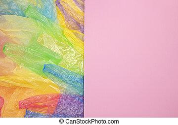 rose, sacs, usage, achats, texte, image, plastique, unique, fond, vide, multicolore, ou
