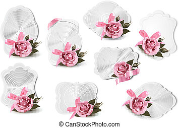 rose, salutation, collection, vecteur, roses., cartes, vacances