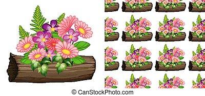 rose, seamless, conception, fond, fleurs, gerbera