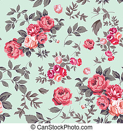 Rose Seamless Pattern - Decorative seamless pattern with...