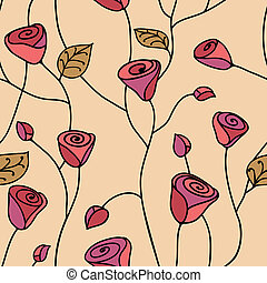Rose seamless pattern pink - Rose seamless pattern with...