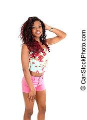 rose, shorts., femme, africaine