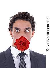 rose, sien, bouche, homme