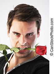 rose, sien, bouche, rouges, homme