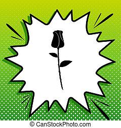 Rose sign illustration. Black Icon on white popart Splash at green background with white spots.