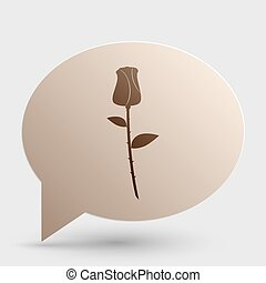 Rose sign illustration. Brown gradient icon on bubble with shadow.