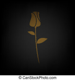 Rose sign illustration. Icon as grid of small orange light bulb in darkness.