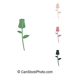 Rose sign illustration. Russian green icon with small jungle green, puce and desert sand ones on white background.