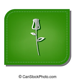 Rose sign illustration. Silver gradient line icon with dark green shadow at ecological patched green leaf.