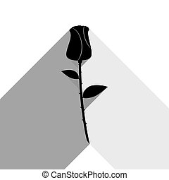 Rose sign illustration. Vector. Black icon with two flat gray shadows on white background.