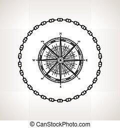 rose, silhouette, compas