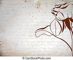 rose, silhouette, hintergrund, weinlese