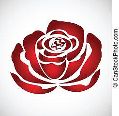rose, silhouette, logo, vecteur