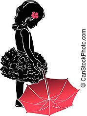rose, silhouette, peu, parapluie, girl