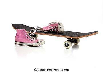 rose, skateboard, espadrilles