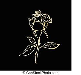 Rose sketch. Golden outline