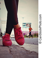 rose, (sneakers)., -, accessoires, espadrilles, wearable
