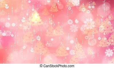 Rose Snowflakes and Christmas Tree Background