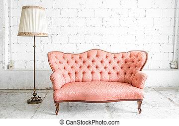 rose, sofa, lampe