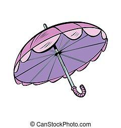 rose, soleil, parapluie