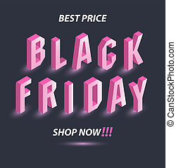 rose, sombre, isométrique, concept, texte, vendredi, gris, offer., sale., arrière-plan., clair, noir, publicité, saisonnier, panneau affichage, bannière
