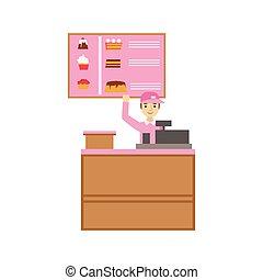 rose, sourire, dessert, registre, ouvrier, espèces, illustration, uniforme, personne, vecteur, menu, doux, gâteau, assortiment, café, avoir, patisserie