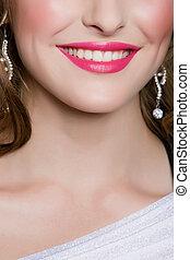 rose, sourire, lèvres