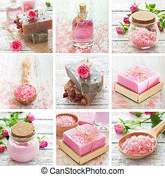 Rose spa collage