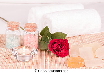 Rose spa concept with rose close up
