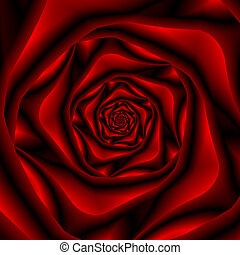 Rose Spiral in Black and Red - An abstract fractal image...