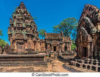 rose, srei, banteay, hindou, cambodge, temple