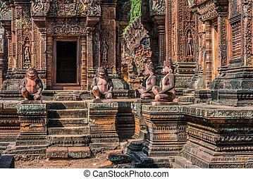 rose, srei, banteay, statues, singe, hindou, cambodge, temple