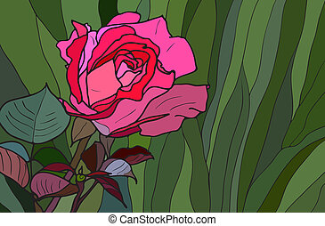 Multicolored stained glass with floral motif, abstract rose on green grass, vector