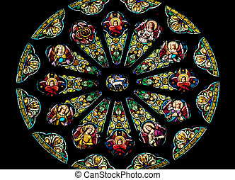 Rose Stained Glass Window Saint Peter Paul Catholic Church San F