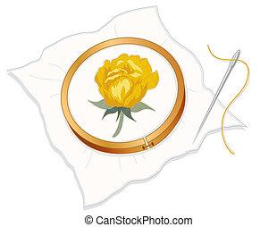 rose, stickerei, needlepoint, gelber